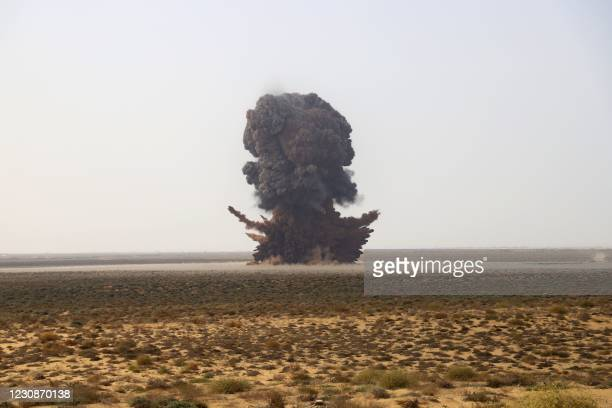 Joint Saudi-backed Sudanese-Yemeni military experts force removes and deactivates some 5,000 landmines on January 30 which they said were planted by...