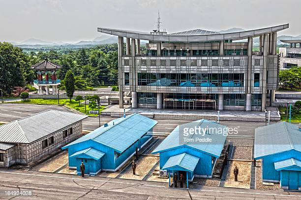 joint security area - from the north... - panmunjom stock pictures, royalty-free photos & images