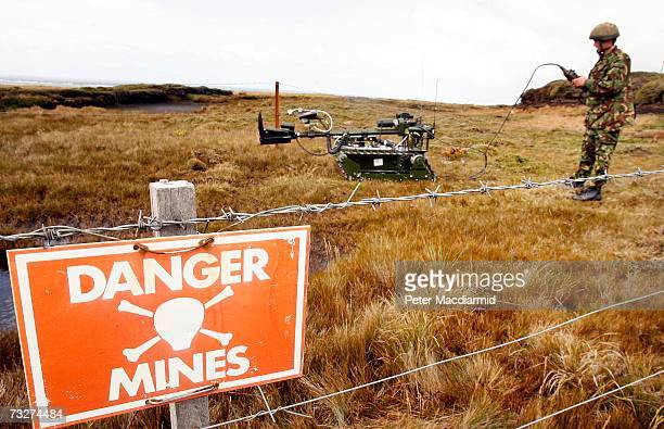 Joint Service Explosive Ordnance Disposal robot 'Red Fire' is prepared to recover a mine on February 9 2007 in Stanley Falkland Islands There are 117...