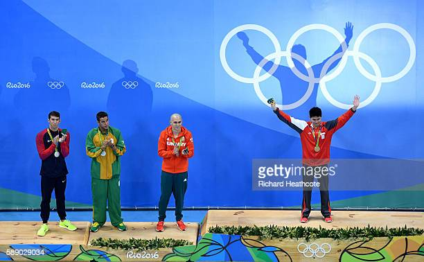 Joint silver medalists, Michael Phelps of United States, Chad Guy Bertrand le Clos of South Africa, Laszlo Cseh of Hungary and gold medalist Joseph...