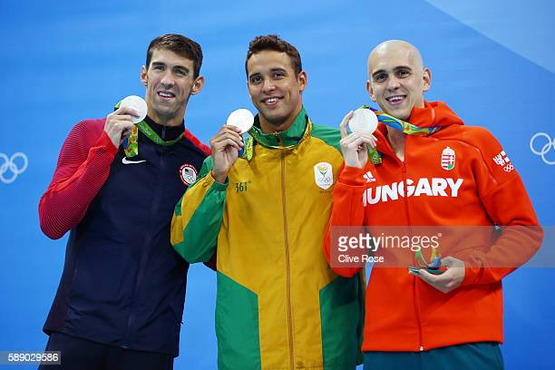 Joint silver medalists Michael Phelps of United States Chad Guy Bertrand le Clos of South Africa and Laszlo Cseh of Hungary celebrate winning silver...