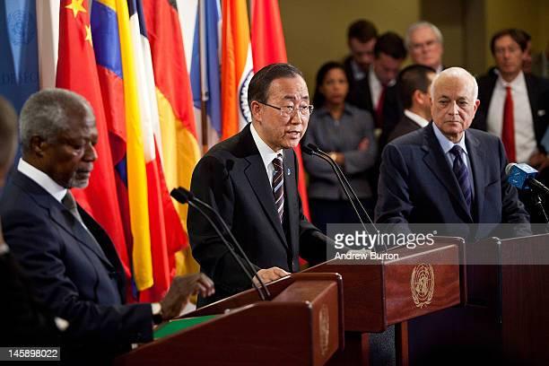 Joint Special Envoy for Syria and former United Nations Secretary General Kofi Annan UN Secretary General Ban KiMoon and Dr Nabil ElAraby...