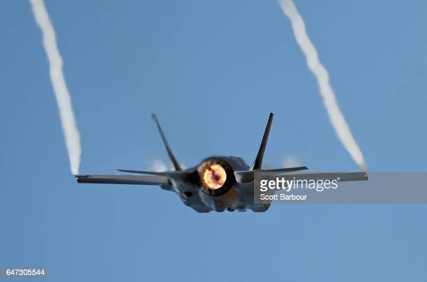 Joint Strike Fighter F-35 flies during the Avalon Airshow on March 3, 2017 in Avalon, Australia. Australia's first F-35s made their public debut at...