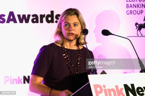 Joint winner of the Politician of the Year award Justine Greening Secretary of State for Education speaks on stage during the Pink News Awards 2017...