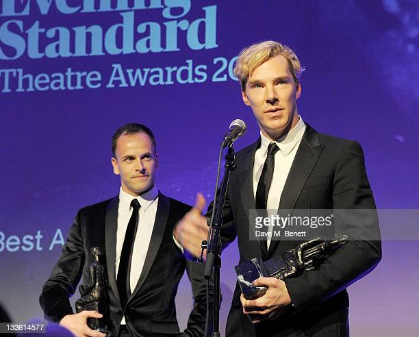 Joint winners Jonny Lee Miller and Benedict Cumberbatch accept the Best Actor Award during the 57th Evening Standard Theatre Awards Ceremony at The...