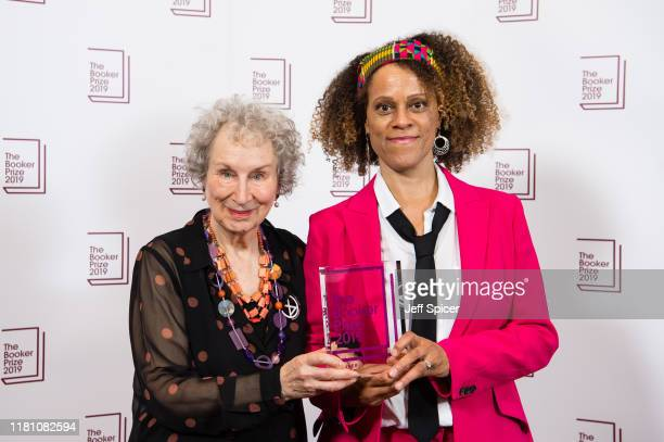 Joint winners Margaret Atwood and Bernardine Evaristo during 2019 Booker Prize Winner Announcement photocall at Guildhall on October 14, 2019 in...