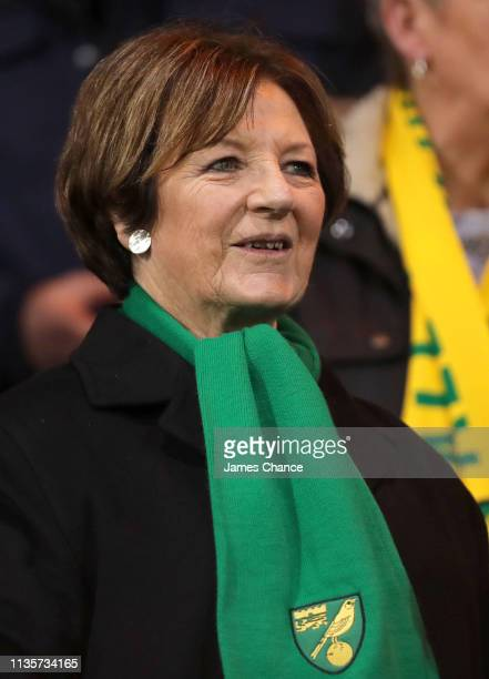 Jointmajority shareholder of Norwich City FC Delia Smith looks on from the stands prior to during the Sky Bet Championship match between Norwich City...