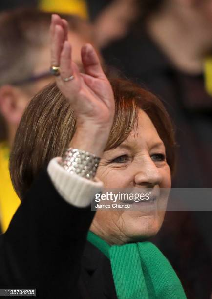 Jointmajority shareholder of Norwich City FC Delia Smith waves to fans from the stands prior to during the Sky Bet Championship match between Norwich...