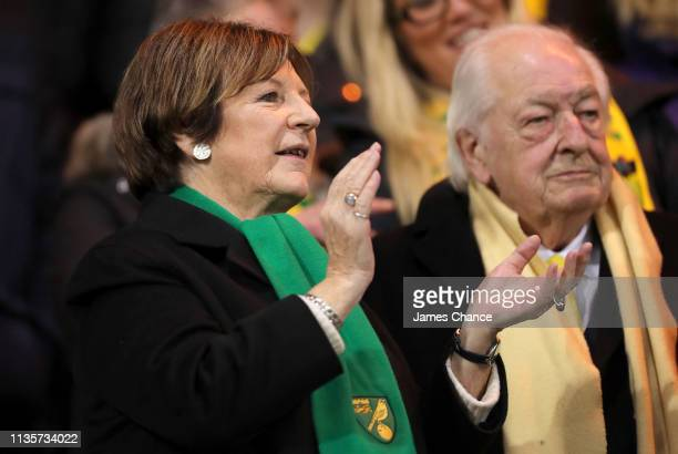 Jointmajority shareholders of Norwich City FC Delia Smith and Michael WynnJones are seen in the stands prior to during the Sky Bet Championship match...