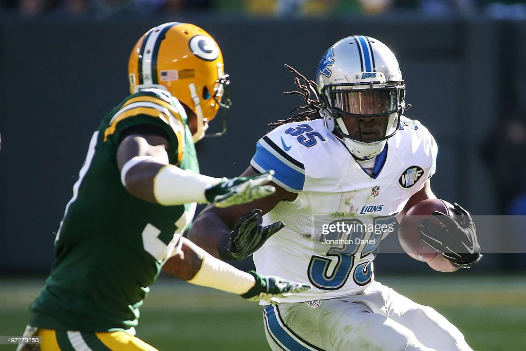 Joique Bell #35 of the Detroit Lions carries the football in the first quarter against the Green Bay Packers at Lambeau Field on November 15, 2015 in Green Bay, Wisconsin.