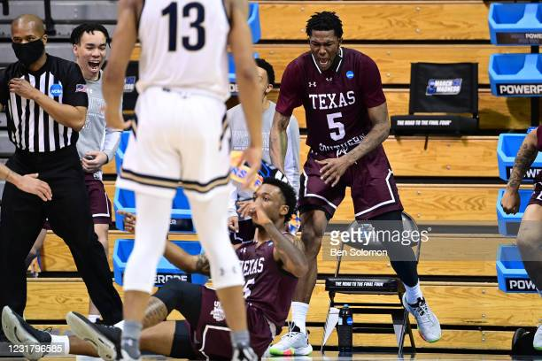 Joirdon Karl Nicholas of the Texas Southern Tigers reacts to a play against the Mount St. Mary's Mountaineers in the First Four round of the 2021...