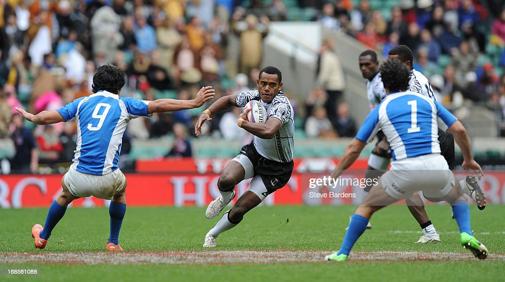Joji Baleviani Naturaga of Fiji cuts throught the Argentina defence during day one of the Marriott London Sevens, the final round of the HSBC Sevens World Series at Twickenham Stadium on May 11, 2013 in London, England.