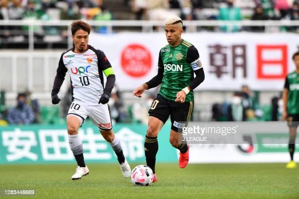 Joji IKEGAMI of Renofa Yamaguchi and SERGINHO of Matsumoto Yamaga battle for the ball during the J.League Meiji Yasuda J2 match between Matsumoto...