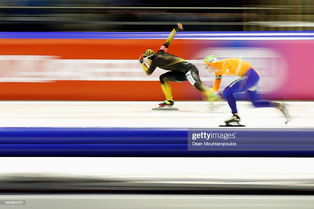 Joji Kato (L) of Japan and Jan Smeekens of Netherlands compete in the Mens 500m during Day 1 of the Essent ISU World Cup Speed Skating Championships 2013 at Thialf Stadium on March 8, 2013 in Heerenveen, Netherlands.