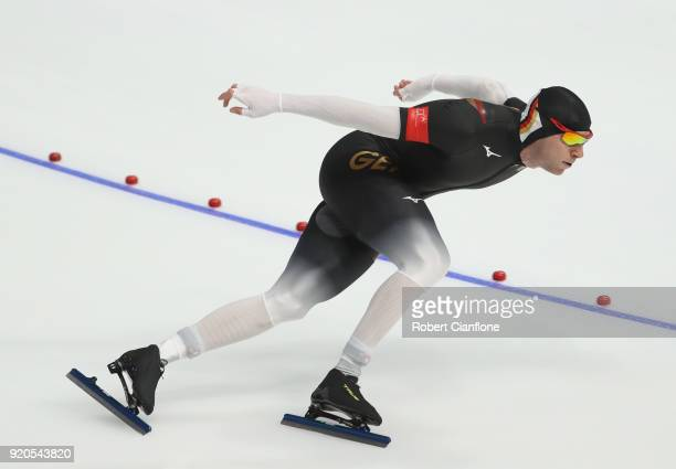 Joji Kato of Japan competes during the Men's 500m Speed Skating Final on day 10 of the PyeongChang 2018 Winter Olympic Games at Gangneung Oval on...