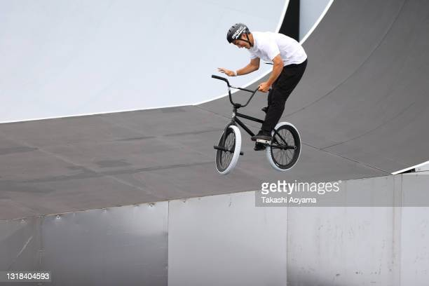 Joji Mizogaki competes in the Men's Seeding Run during the Cycling BMX Freestyle test event at the Ariake Urban Sports Park on May 17, 2021 in Tokyo,...