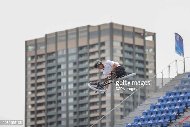 Joji Mizogaki in action during warm up for the first heat run at the Ready Steady Tokyo BMX Freestyle Olympic Test Event in Ariake Urban Sports Park.