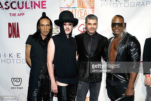 JoJo Americo Paul Alexander and Nashom Wooden of the Ones Band with Mike Ruiz attend Mike Ruiz' Birthday Gala at XL Nightclub on December 7 2012 in...