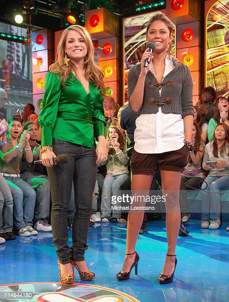 JoJo and MTV VJ Vanessa Minnillo during JoJo and Sean Diddy Combs Visit MTV's TRL October 17 2006 at MTV Studios Times Square in New York City New...
