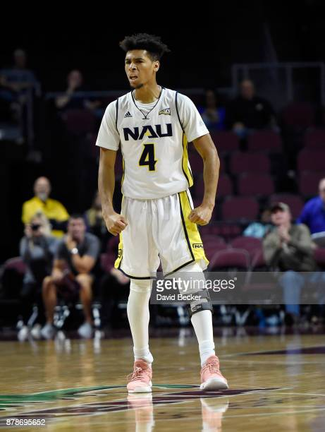 Jojo Anderson of the Northern Arizona Lumberjacks reacts after a basket against UC Irvine Anteaters during the 2017 Continental Tire Las Vegas...