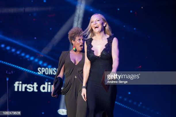 Jojo Kelly and Stephanie Hirst present an award at the Audio and Radio Industry Awards at First Direct Arena Leeds on October 18 2018 in Leeds England