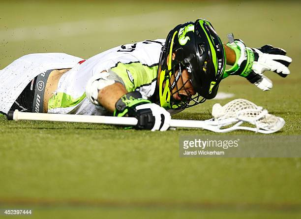 JoJo Marasco of the New York Lizards celebrates following his game-winning goal in overtime against the Boston Cannons during the game at Harvard...