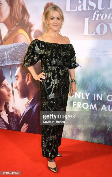 """Jojo Moyes attends the UK Premiere of """"The Last Letter From Your Lover"""" at The Ham Yard Hotel on July 27, 2021 in London, England."""