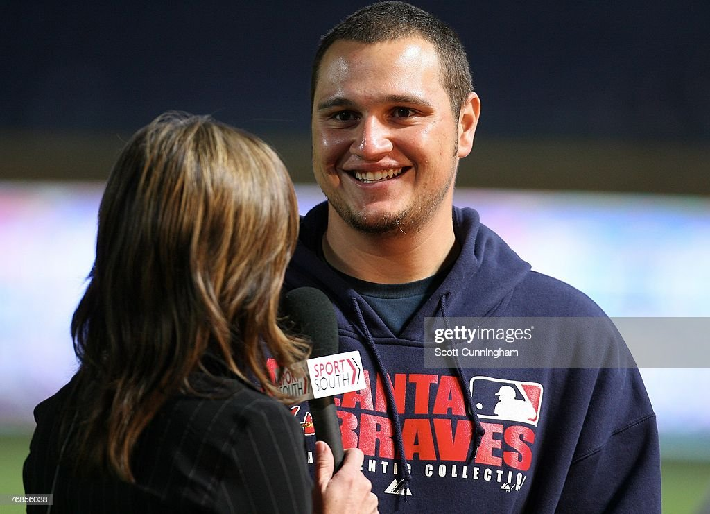 Jo-Jo Reyes #37 of the Atlanta Braves is interviewed after the game against the Florida Marlins at Turner Field on September 18, 2007 in Atlanta, Georgia. Reyes recorded his first major league win as the Braves defeated the Marlins 4-3.