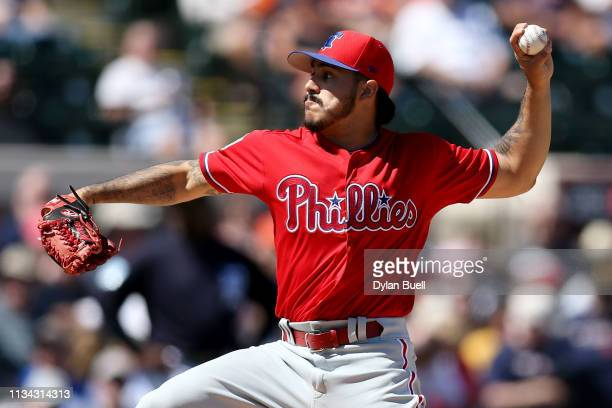 JoJo Romero of the Philadelphia Phillies pitches in the first inning against the Detroit Tigers during the Grapefruit League spring training game at...