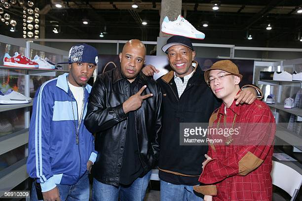 Jojo Simmons Reverend Run of RunDMC Russell Simmons and creative director Kevin Saer launch Run Athletics product line at Project Show Las Vegas at...