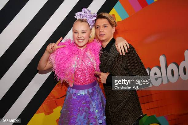 JoJo Siwa and Jace Norman attend Nickelodeon's 2018 Kids' Choice Awards at The Forum on March 24 2018 in Inglewood California