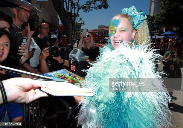 """JoJo Siwa attends the Premiere of Sony's """"The Angry Birds Movie 2"""" on August 10, 2019 in Los Angeles, California."""