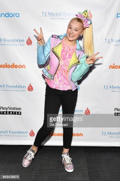 JoJo Siwa attends TJ Martell Foundation's 17th Annual New York Family Day at PlayStation Theater on April 8 2018 in New York City