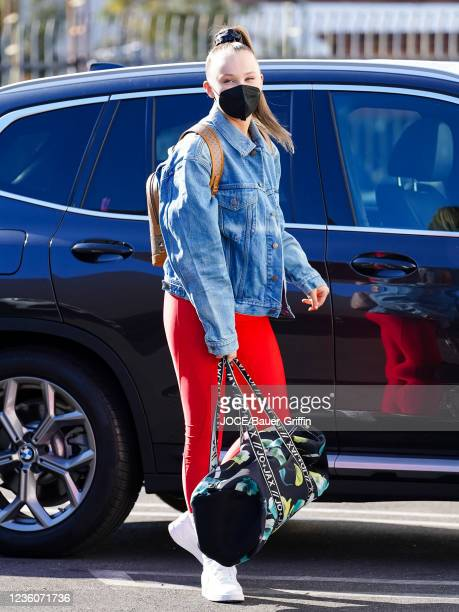 JoJo Siwa is seen outside 'Dancing With The Stars' Rehearsal Studio on October 22, 2021 in Los Angeles, California.