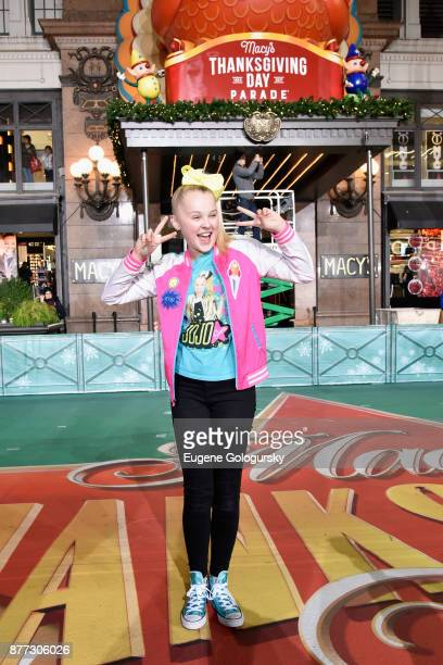 Jojo Siwa performs at Macy's Thanksgiving Day Parade Talent Rehearsals at Macy's Herald Square on November 21 2017 in New York City