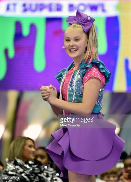 JoJo Siwa performs onstage at Nickelodeon at the Super Bowl Expereince during NFL Play 60 Kids Day on January 31 2018 in Minneapolis Minnesota