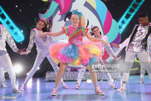 Jojo Siwa performs onstage at Nickelodeon's 2018 Kids' Choice Awards at The Forum on March 24 2018 in Inglewood California