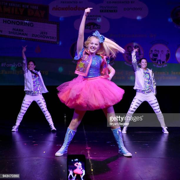 JoJo Siwa performs onstage during TJ Martell Foundation's 17th Annual New York Family Day at PlayStation Theater on April 8 2018 in New York City