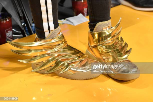 JoJo Siwa, shoe detail, attends a basketball game between the Los Angeles Lakers and Phoenix Suns at Staples Center on February 10, 2020 in Los...