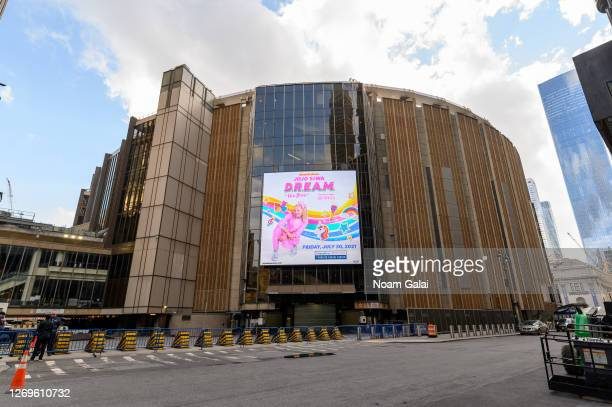 Jojo Siwa tour banner is seen outside the Madison Square Garden as the city continues Phase 4 of re-opening following restrictions imposed to slow...