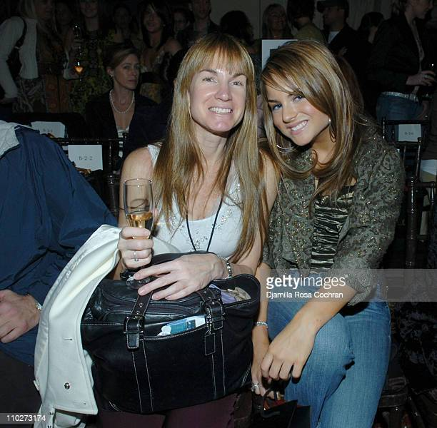 JoJo with her mother during Olympus Fashion Week Fall 2006 Nicole Miller Front Row at New York Yacht Club in New York City New York United States