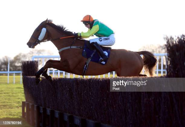 Joke Dancer ridden by jockey Ryan Mania clear a fence on the way to winning the Watch The Jumps In HD On RacingTV Handicap Chase at Wetherby...