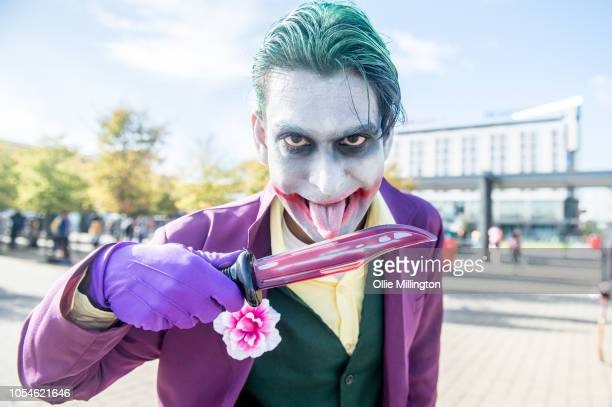 Joker Cosplayer in character seen during Day 3 of MCM London Comic Con 2018 at ExCel on October 28 2018 in London England