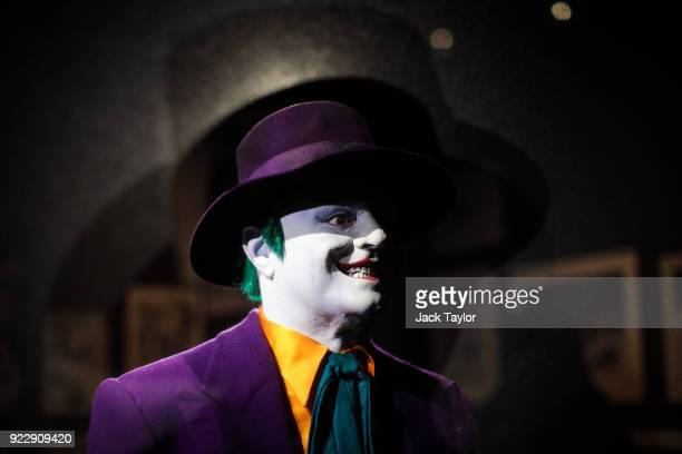 Joker costume from the 1989 Batman film worn by Jack Nicholson and designed by Rob Ringwood is on display at the DC Comics Exhibition: Dawn Of Super...