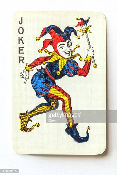 joker on vintage playing card. - joker card stock photos and pictures
