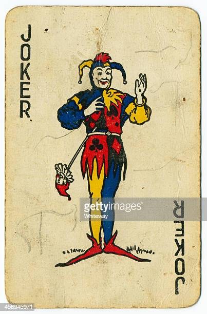 Joker old playing card from 1940s