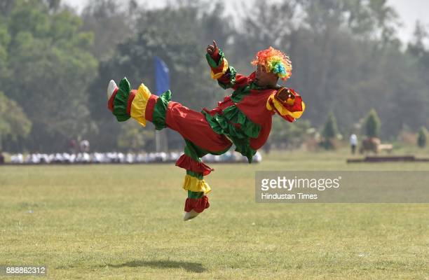 Jokers entertaining people during the celebration of 257th Corps Day of Army Service Corps at Agram ground on December 9 2017 in Bengaluru India...