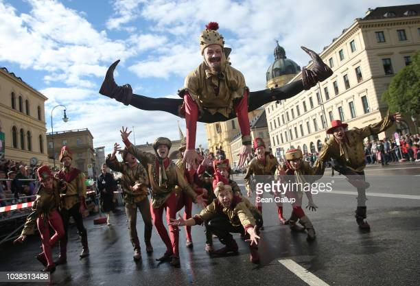 Jokers perform in the Oktoberfest parade of costumes of folk and crafts associations on the second day of the 2018 Oktoberfest beer festival on...
