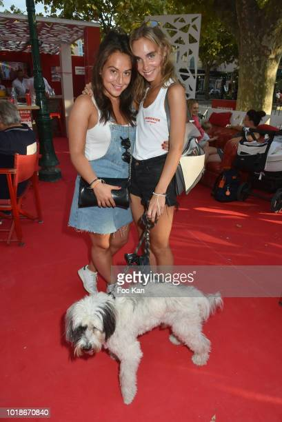 Jokers Web serial director Chloe Menager actress Mathilde Laffont and her thibetan dog Talung attend the Trophee Senequier 2018 at Place des Lices...