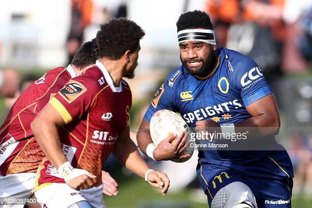 Joketani Koroi of Otago runs the ball during the round five Mitre 10 Cup match between Southland and Otago at Rugby Park Stadium on September 15 2018...